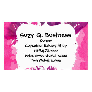 Pretty Pink Purple Girly Flower Pop Art Business Card Template
