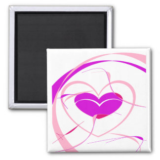 Pretty Pink&Purple Heart Square Magnet