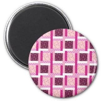 Pretty Pink Purple Patchwork Quilt Design Gifts 6 Cm Round Magnet