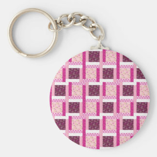 Pretty Pink Purple Patchwork Quilt Design Gifts Basic Round Button Key Ring