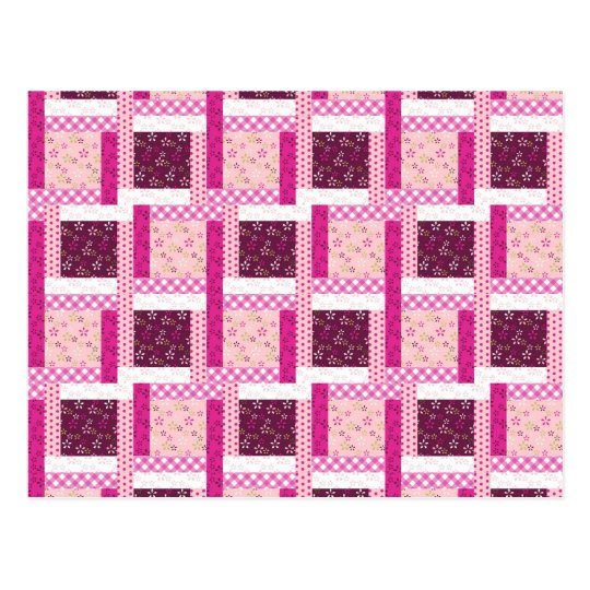 Pretty Pink Purple Patchwork Quilt Design Gifts Postcard