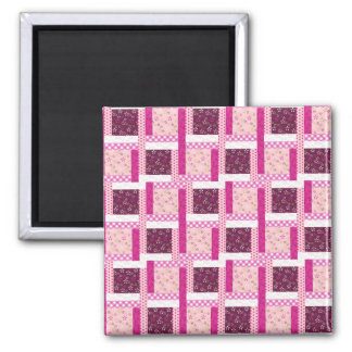 Pretty Pink Purple Patchwork Quilt Design Gifts Square Magnet