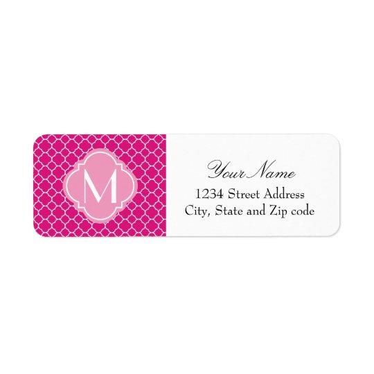 Pretty Pink Quatrefoil Pattern with Monogram Return Address Label