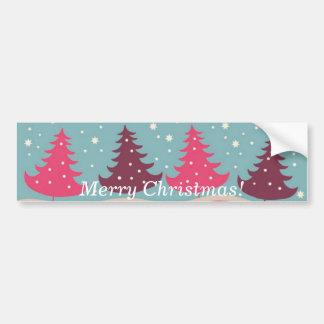 Pretty Pink Retro Merry Christmas Tree Pattern Bumper Sticker