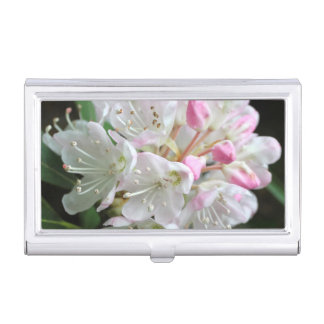 Pretty Pink Rhododendron Flower Photo Business Card Holder