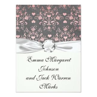 pretty pink romantic heart damask on vintage grey 17 cm x 22 cm invitation card