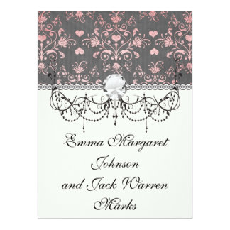 pretty pink romantic heart damask on vintage grey personalized invites