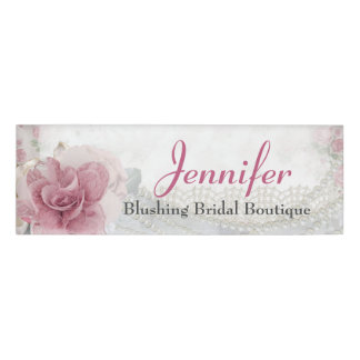 Pretty Pink Rose and Pearls Employee Name Tag