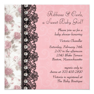 Pretty Pink Rose Baby Girl Shower Card