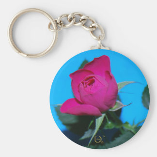Pretty Pink Rose Basic Round Button Key Ring