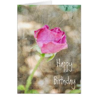 Pretty Pink Rose Bud Greeting Card