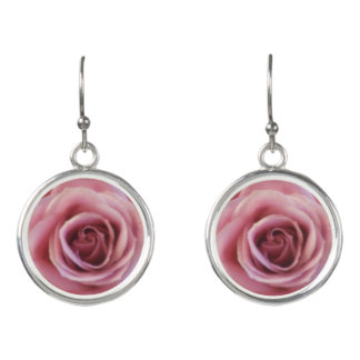 Pretty Pink Rose Close up Picture Earrings