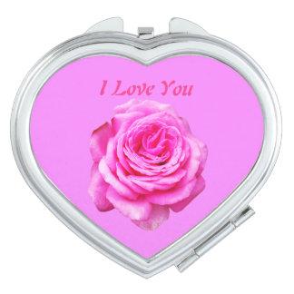 Pretty Pink Rose, I Love You Logo, Makeup Mirrors