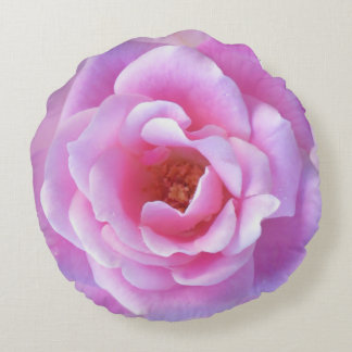 Pretty Pink Rose Round Pillow