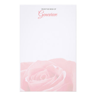 Pretty Pink Rose Personalized with Name Stationery