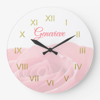 Pretty Pink Rose Personalized with Name Wall Clock