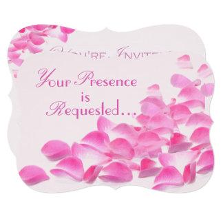 Pretty Pink Rose Petals Floral Card