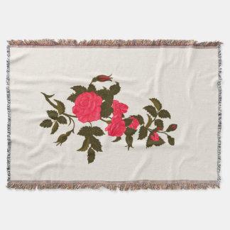 Pretty Pink Rose Spray Throw Blanket