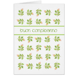Pretty Pink Rosebuds Italian Language Birthday Card