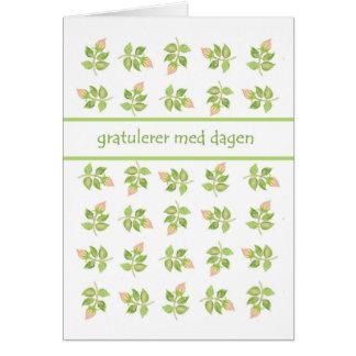 Pretty Pink Rosebuds Norwegian Language Birthday Card