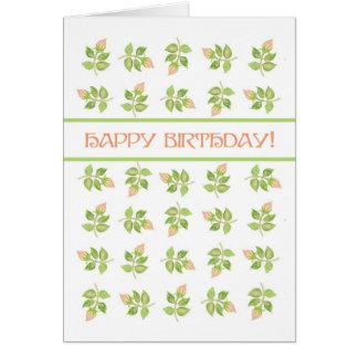 Pretty Pink Rosebuds on White Birthday Card