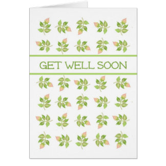 Pretty Pink Rosebuds on White Get Well Soon Card
