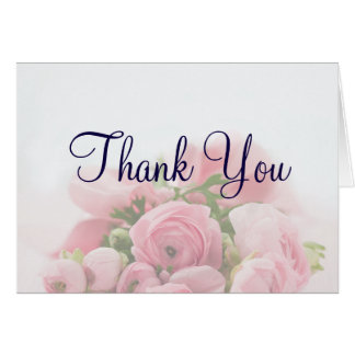 Pretty Pink Roses Bouquet Thank You Card