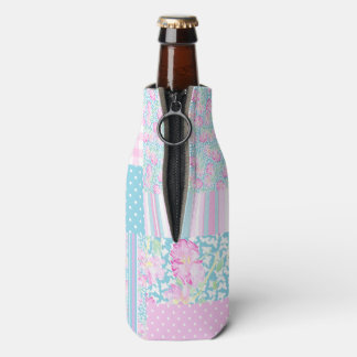 Pretty Pink Roses Faux Patchwork Bottle Cooler