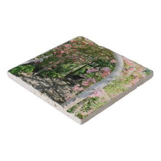Pretty Pink Roses Floral Arch Stone Trivet