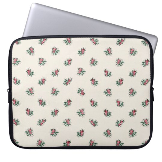 Pretty Pink Roses Girly Vintage Wallpaper Pattern Laptop Sleeve