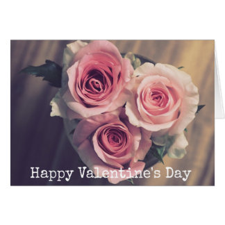 Pretty Pink Roses Heart Valentine's Day Card