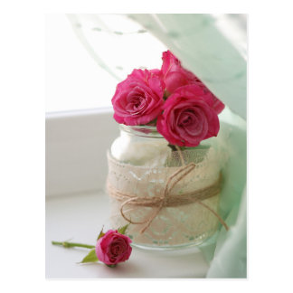 Pretty Pink Roses in a Glass jar Postcard