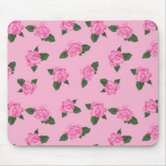 Pretty pink roses on a pink background mouse pads