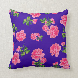 Pretty pink roses on deep purple cushion
