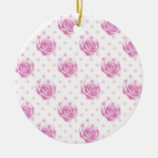 Pretty pink roses pattern ceramic ornament