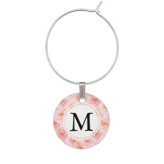 Pretty Pink Roses Watercolor Monogram Wine Charm