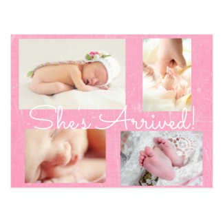 "Pretty Pink ""She's Arrived""  Birth Announcement Postcard"
