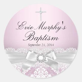 Pretty Pink Silver Damask & Bow Baptism Sticker