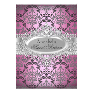 Pretty Pink Silver Damask Sweet 16 Invite