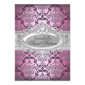 Pretty Pink & Silver Damask Sweet 16 Invite