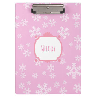 Pretty Pink Snowflake Paradise Clipboard