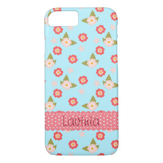 Pretty Pink Spring Flowers Floral Pattern on Blue iPhone 8/7 Case
