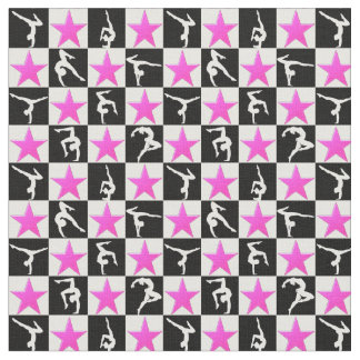 PRETTY PINK STAR GYMNASTICS DESIGN FABRIC