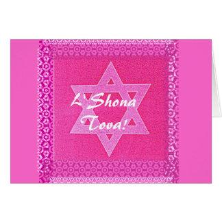 Pretty Pink Star of David Card