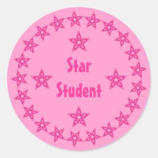 Pretty Pink Star Student Reward Customizable Sticker