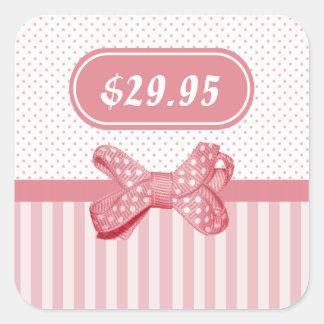 Pretty Pink Stripes Cute Polka Dot Bow Price Tag Square Sticker