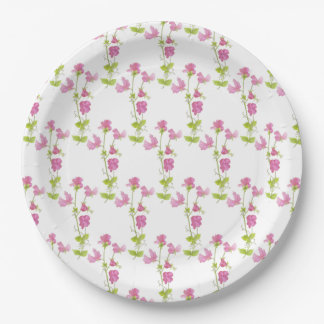 Pretty Pink Sweet Pea Flower Art Paper Plate