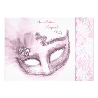 Pretty Pink Sweet Sixteen Masquerade Party Personalized Invite