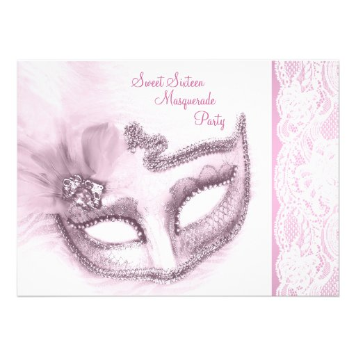 Pretty Pink Sweet Sixteen Masquerade Party Custom Invitations