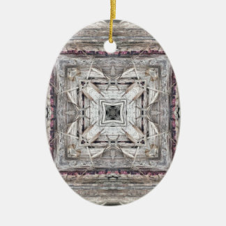 Pretty Pink Tinged Aztec Inspired Pattern Ceramic Ornament